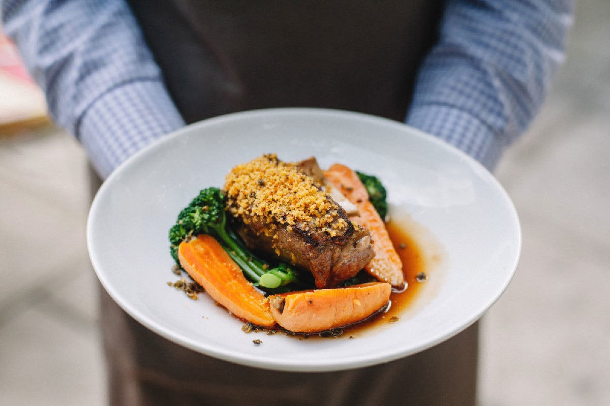 Crusted Lamb Shoulder Broccolini Baby Carrots Lemon Fried Capers